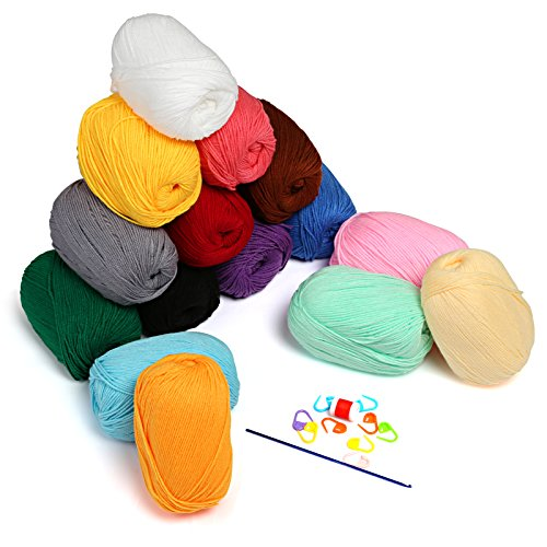 LIHAO 15 Skeins Soft Yarn for Crochet Knitting and Crafting - Milk Cotton, 50g (Yarn Sock Cotton)