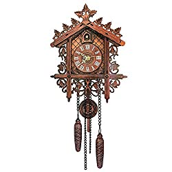 DORALO Cuckoo Clock Antique Black Forest Cuckoo Clock,Roman Numeral Wall Clock,Handcrafted Wood Cuckoo Clock for Home Office Decor(55X190x242mm),#1