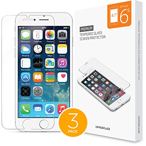 [3 Pack ] iPhone 6 iPhone 6S Screen Protector 3 Individual Pack, Uppercase Premium Tempered Glass Screen Protector iPhone 6S, 4.7 inch Screen