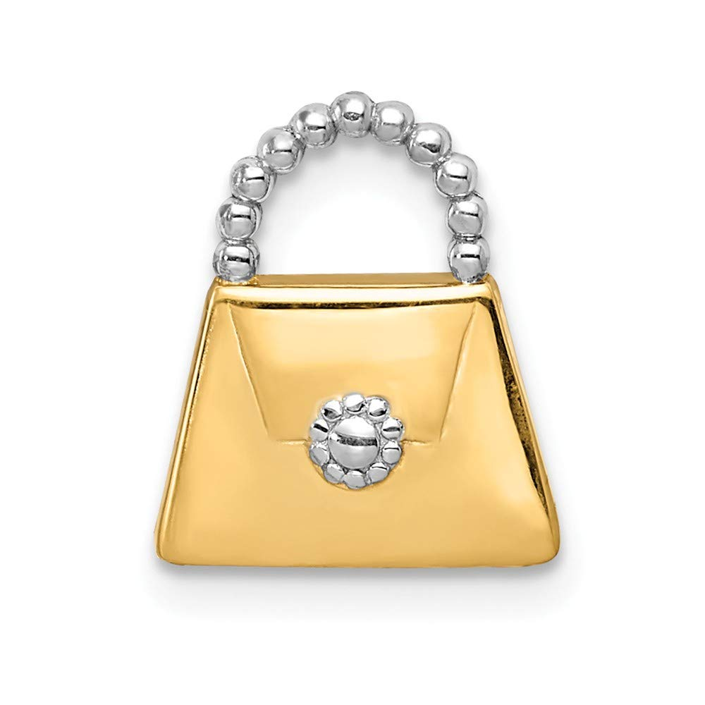 14K White Gold /& Yellow Gold Purse Slide Pendant Solid Pendants /& Charms Jewelry