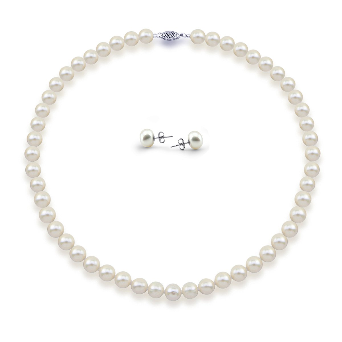 14K White Gold 7.5-8.0mm High Luster White Freshwater Cultured Pearl Necklace, Earrings Set, 18'' Length