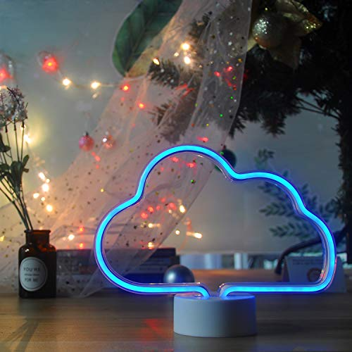 Neon Night Light Cloud Shaped Neon Signs LED Light up Sign Wall Decor Light for Wedding Sign Birthday Party,Camping,Kids Room, Living Room,Bedroom(Blue) ()