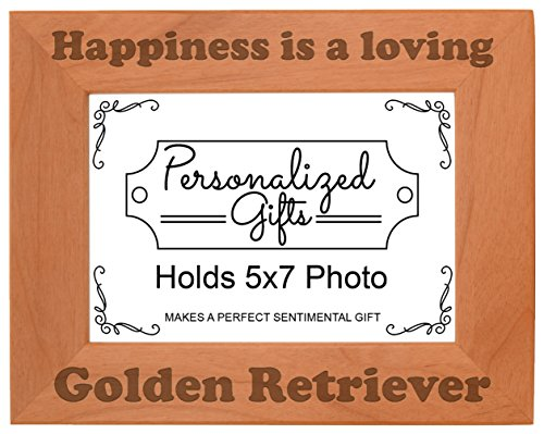 Golden Retriever Frame - ThisWear Dog Picture Frame Happiness is a Loving Golden Retriever Accessories Dog Owner Natural Wood Engraved 5x7 Landscape Picture Frame Wood