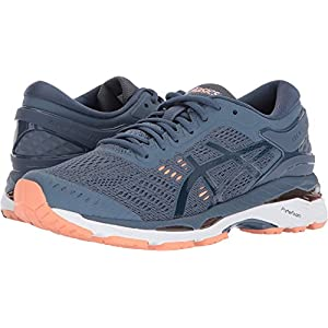 Asics Women's Gel-Kayano 24 Running Shoe, Smoke Blue/Dark Blue/Cantaloupe 5