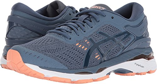 ASICS Women's Gel-Kayano 24 Running Shoe, Smoke Blue/Dark Blue/Cantaloupe 6.5