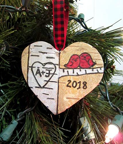 Love Bird Personalized Initials Natural Birch Bark Rustic Christmas ornament ()