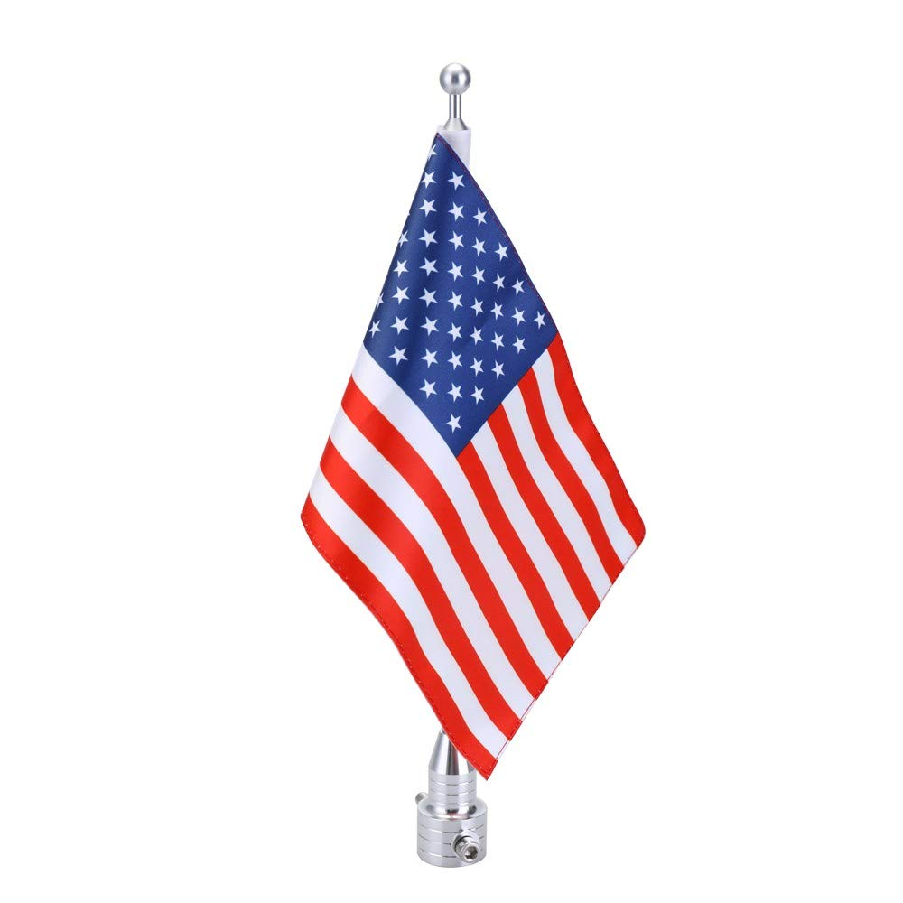 Yiqiane Replaceable Car Parts Motorcycle Metal Pole Flagpole Pattern of American Flag Stars and Stripes Onboard Decorative Accessories of Motorbike for Drivers