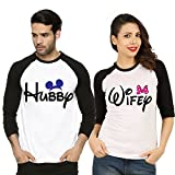 Fanideaz Valentines Gift Raglan Cotton Hubby and Wifey Printed Couples T-Shirt