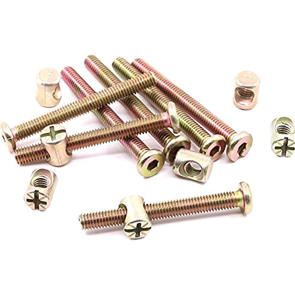Hilitchi M6 x 30mm Zinc Plated Hex Drive Socket Cap Furniture Barrel Screws Bolt Nuts Assortment Kit for Furniture Cots Beds Crib and Chairs Pack of 15
