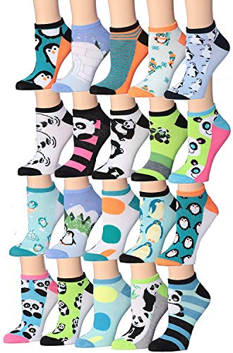 Tipi Toe Women's 20 Pairs Colorful Patterned Low Cut/No Show Socks (WL21B-AB)