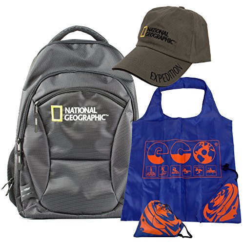 Deluxe Boat Bag Backpack (Limited Edition) Wth Nat Geo Hat and Fish Tote Bundle ()