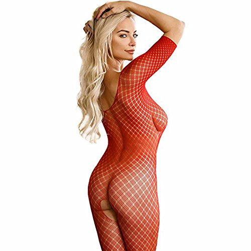 FAVOLOOK Body Stocking Lingerie For Women,Net Fishnet Bodysuit Crotchless Bodystocking In Red