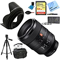 Sony SEL100F28GM FE 100mm F2.8 STF GM OSS Lens for Cameras Deluxe Accessory Bundle includes Lens, 64GB SD Memory Card, Tripod, 72mm Filter Kit, Lens Hood, Bag, Cleaning Kit, More
