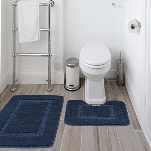 "Microfiber Bathroom Contour Rugs Combo Set of 2 Soft Shaggy Non Slip Bath Shower Mat and U-shaped Toilet Floor Rug (Navy, 20"" x 32""/20"" x 18"")"