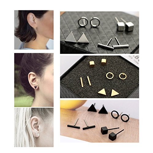 ANGELANGELA Mini 12 Pairs Geometric Stud Earrings, Copper Line Stick Rectangle Bar Ball Round Triangle Square Cube Ear Stud for Men and Women (12 Pairs Solid Geometric) ()
