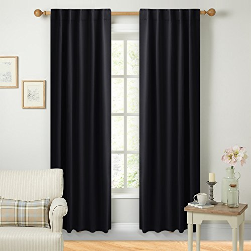 Black Out Curtain Panels for Bedroom - (Black Color) W42