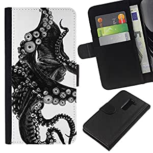 A-type (Black White Photo Tentacle Monster) Colorida Impresión Funda Cuero Monedero Caja Bolsa Cubierta Caja Piel Card Slots Para LG G2 D800