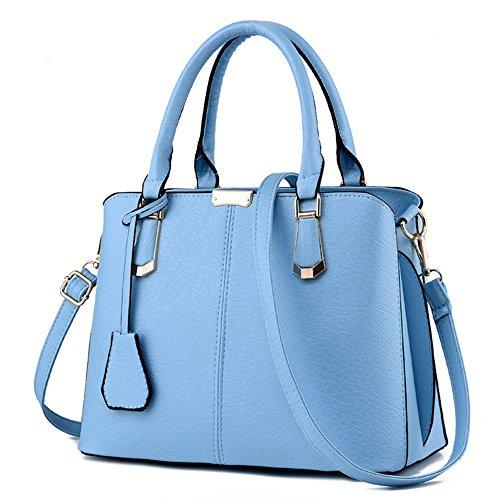 light blue leather handbags - 8