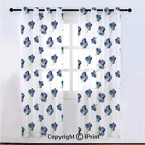 (Floral Semi Sheer Voile Window Curtain With Drapes Grommet,Watercolors Painted Violet Flowers Pattern Blooms Spring Nature Theme,for Bedroom,Living Room & Kids Room(108