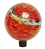 Echo Valley 8155 10-Inch Glow-in-the-Dark Illuminarie Glass Gazing Globe, Red Swirl