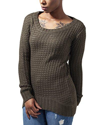Urban Classics TB739 Damen Pullover Ladies Long Wideneck Sweater Grün  (Olive 176) keZgyrh ed4361c4ab