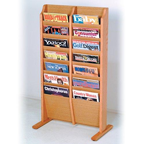 (Wooden Mallet 14-Pocket Cascade Free-Standing Magazine Rack, Light Oak)