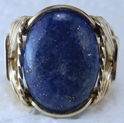 Lapis Lazuli Gemstone Ring 14k Gold gf mens ladies