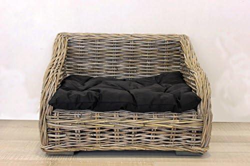 Keyhomestore caseta Cama Perro y Gato de Bambú con Suave cojín de Algodón Negro Línea Animal – 60 x 45 x 43 cm