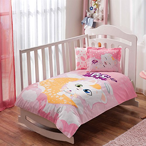 100% Organic Cotton Soft and Healthy Baby Crib Bed Duvet Cover Set 4 Pieces, Pisi Cat Baby Bedding Set by TAC