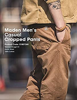 MADEN Men's Cropped Flooded Capri Pants Regular Tapered Fit Drawstring Waist