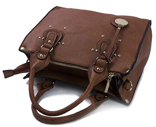 Shop Satchel Vegan Big Womens Top Large Orange Trim Handle Multi Golden St473 Handbag Handbag Leather Faux Pockets A5q5x7w1C