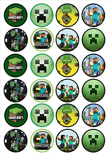 Minecraft Logo Steve Alex Skeleton Edible Cupcake Toppers ABPID05842 -