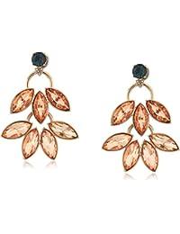 Womens Double Leaf Stud Earrings