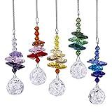 H&D 20mm Chandelier Crystal Prism Ball Rainbow Octagon Bead Rainbow Color Set Chakra Suncatcher,Pack of 5