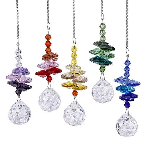 (H&D Chakra Suncatcher Rainbow Maker 20mm Chandelier Crystal Prism Ball Octagon Bead Rainbow Color Set,Pack of 5)