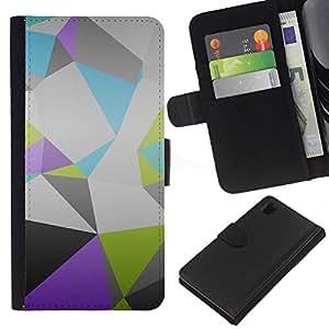 KLONGSHOP // Tirón de la caja Cartera de cuero con ranuras para tarjetas - Patrón Polígono - Sony Xperia Z1 L39 //