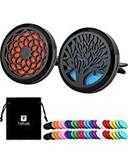 Tatuo 2 Pieces 316L Stainless Steel Car Aromatherapy Essential Oil Diffuser Air Freshener Vent Clip Locket with 48 Pieces Replacement Felt Pad