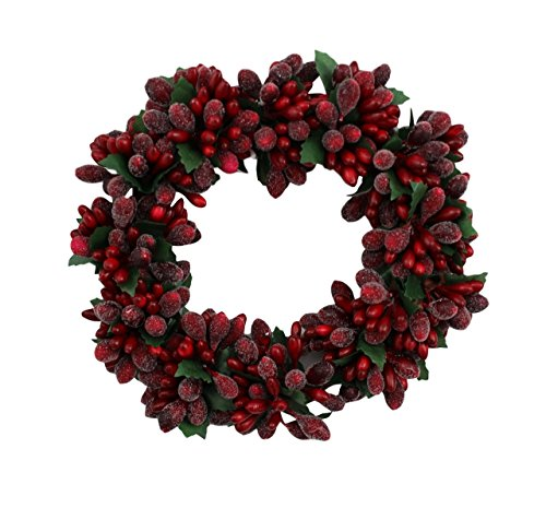 - 6-inch Christmas Red Beaded Berry Wreath Candlering Candle Ring Ornament