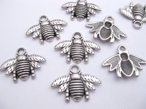 12 Tibetan Style Antique Silver Coloured Bee Charms 16mm x 21mm. CH004
