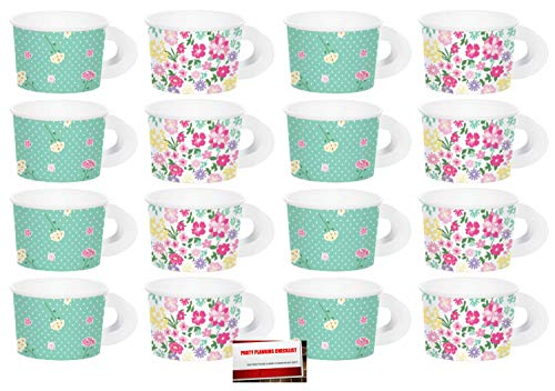 (16 Pack) Floral Tea Time Party Paper Cups with Handles (Plus Party Planning Checklist by Mikes Super Store) -