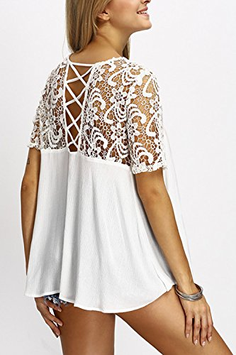La Mujer De Manga Corta Cuello Redondo Scoop Elegante Encaje Patchwork Sheer T Shirt Tops Blusas White