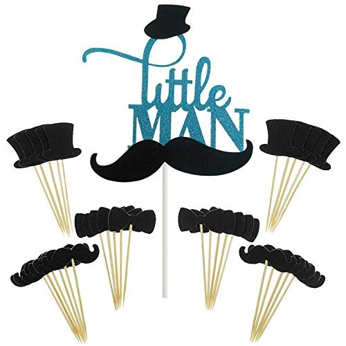 Shxstore Little MAN Cake Topper Mini Mustache Hat Bowtie Cupcake Picks For Baby Shower Birthday Party Decorations Supplies, 31 Counts ()