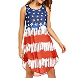 Gyoume American Flag Dress,Womens Loose Fit Dress Sleeveless Prom Teen Graduation Party Dress Patriotic Dress (XL, Red)