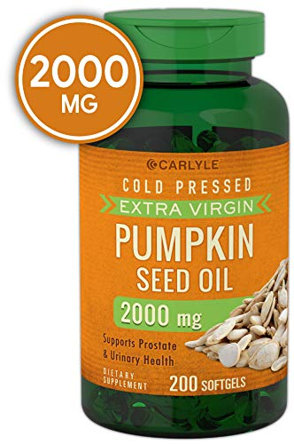Carlyle Pumpkin Seed Oil 2000 mg 200 Softgel Capsules | Cold Pressed, Extra Virgin | Non-GMO, Gluten - Organic Oil Seed Pumpkin
