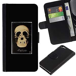 All Phone Most Case / Oferta Especial Cáscara Funda de cuero Monedero Cubierta de proteccion Caso / Wallet Case for Apple Iphone 6 // Retro Skull Love Couple Black Poster