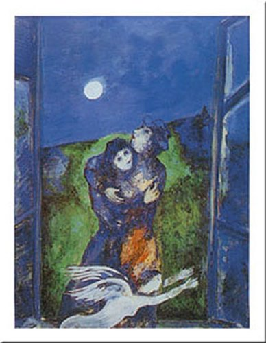 Buyartforless Lovers in The Moonlight by Marc Chagall 12x9.5 Art Print Poster