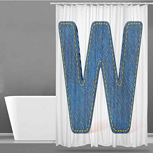 VIVIDX Long Shower Curtain,Letter W,Symmetrical Latin Letter Capital W with Blue Jean Pattern Typography Design Print,Bathroom Curtain Washable Polyester,W55x86L Blue Yellow (Blue Jean Teddy Curtain)