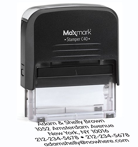 Large Size, 5-Line Custom Self Inking Return Address Rubber Stamp - Includes extra replacement pad $6.95 value Large Business Address Stamp