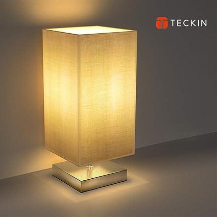 Amazon.com: TECKIN Lámpara de mesita de noche, lámpara de ...