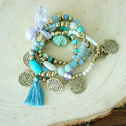 (Blue Tassel Bracelet Set White Blue Gold Beaded Bracelet with gold charms attached Stretch Layer Boho Stacks Set)